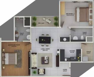 1143 sqft, 2 bhk Apartment in Skylark Esta ITPL, Bangalore at Rs. 77.0000 Lacs