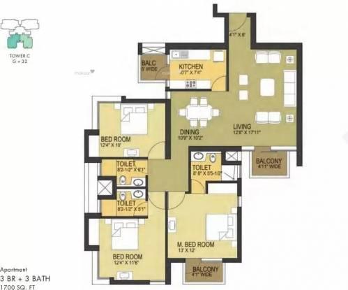 1700 sqft, 3 bhk Apartment in Pioneer Pioneer Park PH 1 Sector 61, Gurgaon at Rs. 1.3000 Cr