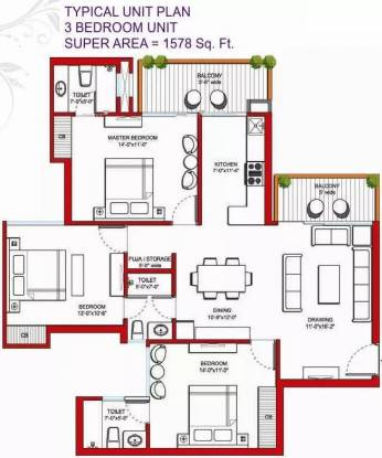 1578 sqft, 3 bhk Apartment in Tulip Violet Sector 69, Gurgaon at Rs. 97.0000 Lacs