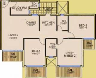 1642 sqft, 3 bhk Apartment in Dhoot Time Residency Sector 63, Gurgaon at Rs. 1.2800 Cr
