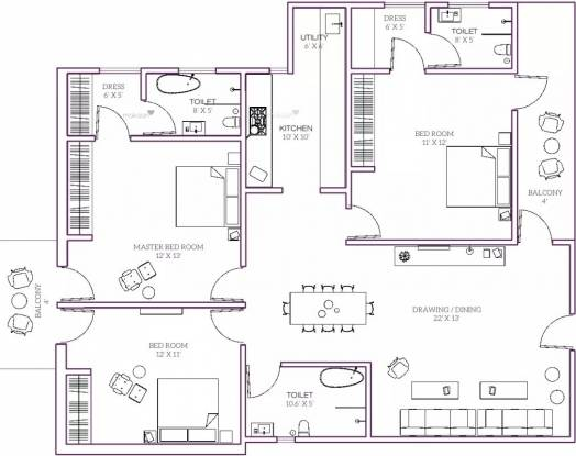 1500 sqft, 3 bhk Apartment in Kamp The Crystal Residency Zone L Dwarka, Delhi at Rs. 67.5000 Lacs