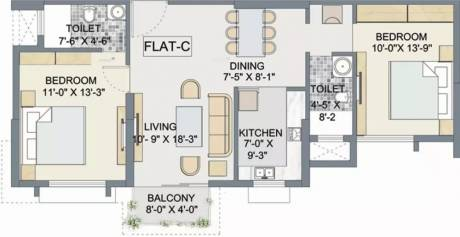 1095 sqft, 2 bhk Apartment in TATA Eden Court Primo New Town, Kolkata at Rs. 16499