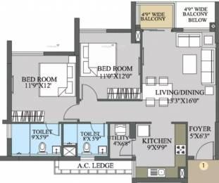 1209 sqft, 2 bhk Apartment in Elita Garden Vista Phase 1 New Town, Kolkata at Rs. 22000