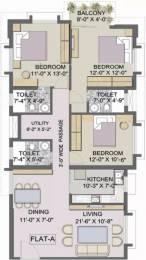 1555 sqft, 3 bhk Apartment in TATA Eden Court Primo New Town, Kolkata at Rs. 18000