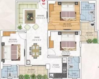 1482 sqft, 3 bhk Apartment in Gangaa Royal Tatvam Dholai, Jaipur at Rs. 45.5000 Lacs