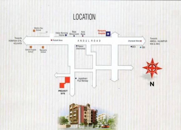 594 sqft, 2 bhk Apartment in Builder TANVIR BHUVANA Andul, Kolkata at Rs. 15.4440 Lacs