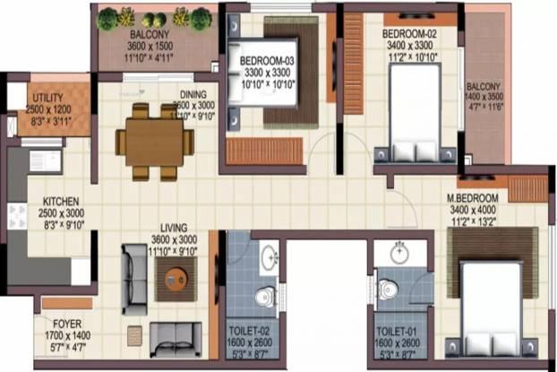 1415 sqft, 3 bhk Apartment in Renaissance Woods Jalahalli, Bangalore at Rs. 85.0000 Lacs