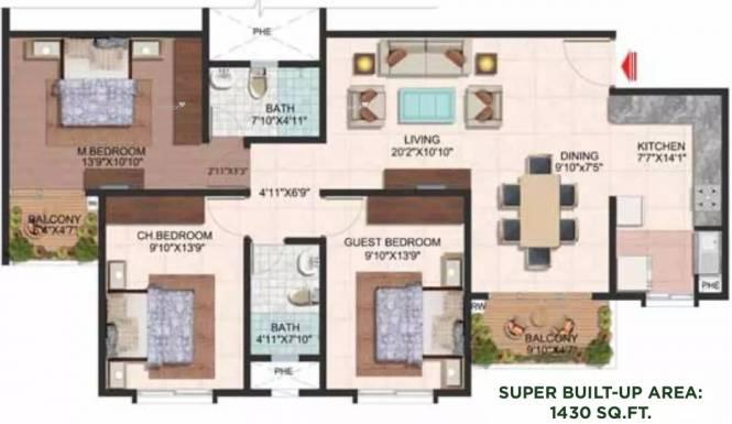 1430 sqft, 3 bhk Apartment in Brigade Wisteria At Meadows Kanakapura Road Beyond Nice Ring Road, Bangalore at Rs. 72.0000 Lacs