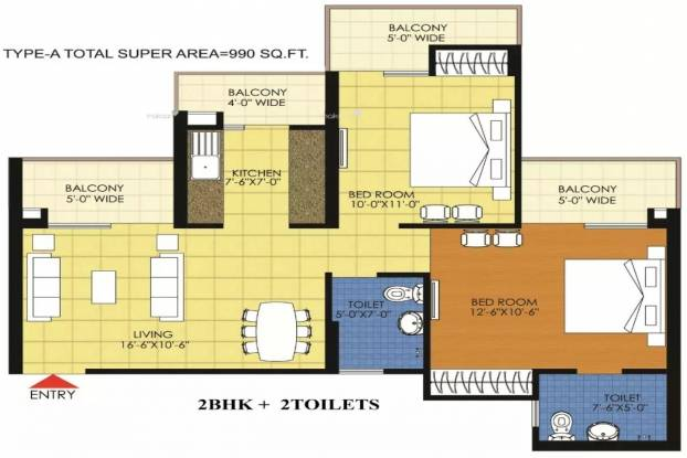 990 sqft, 2 bhk Apartment in Trident Embassy Sector 1 Noida Extension, Greater Noida at Rs. 31.8900 Lacs