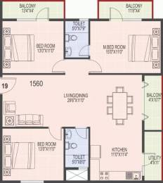 1560 sqft, 3 bhk Apartment in SLS Square Brookefield, Bangalore at Rs. 27000