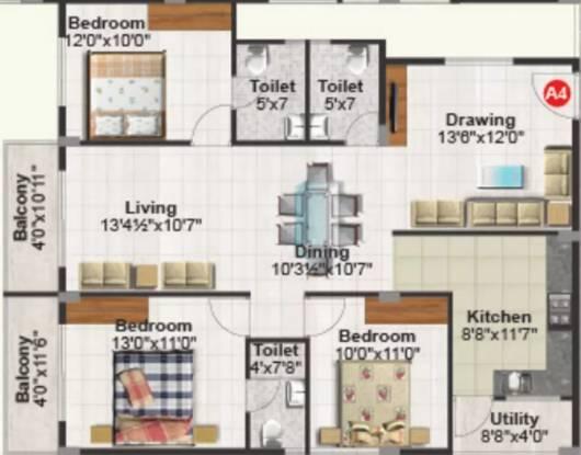 1595 sqft, 3 bhk Apartment in Purvi Mithila Marathahalli, Bangalore at Rs. 29000