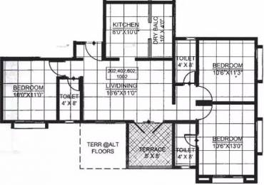 1355 sqft, 3 bhk Apartment in Rainbow Revell Orchid Lohegaon, Pune at Rs. 17000