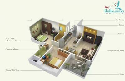850 sqft, 2 bhk Apartment in Gini Bellissimo Dhanori, Pune at Rs. 19000