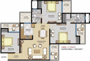 1495 sqft, 3 bhk Apartment in Civitech Stadia Sector 79, Noida at Rs. 66.1538 Lacs