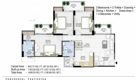 1495 sqft, 3 bhk Apartment in Panchsheel Pratishtha Sector 75, Noida at Rs. 80.0000 Lacs