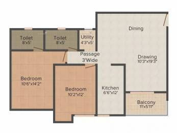 1175 sqft, 2 bhk Apartment in Ashiana Umang Mahindra Sez, Jaipur at Rs. 10500