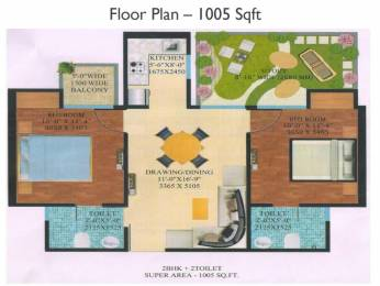 1005 sqft, 2 bhk Apartment in Supertech Garden Homes Sector 1 Noida Extension, Greater Noida at Rs. 35.7400 Lacs
