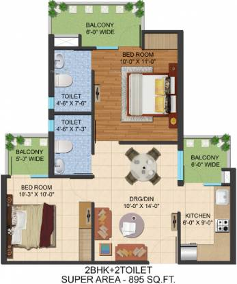895 sqft, 2 bhk Apartment in Ajnara Prime Tower Sector 16 Noida Extension, Greater Noida at Rs. 32.1300 Lacs