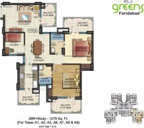 1279 sqft, 2 bhk Apartment in KLJ Greens Sector 77, Faridabad at Rs. 35.2500 Lacs