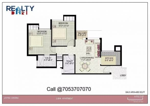 850 sqft, 2 bhk Apartment in Jaypee Kosmos Sector 134, Noida at Rs. 9500