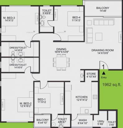 2550 sqft, 4 bhk Apartment in Sangath Posh Chandkheda, Ahmedabad at Rs. 25000