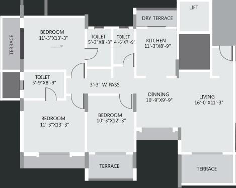 1600 sqft, 3 bhk Apartment in Regency Cosmos Baner, Pune at Rs. 35000