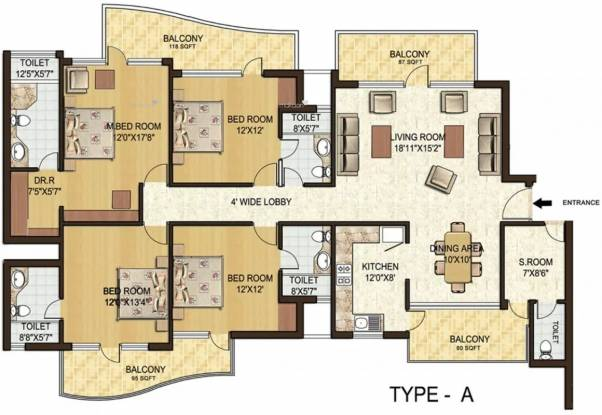 2597 sqft, 4 bhk Apartment in Spaze Privy Sector 72, Gurgaon at Rs. 38000