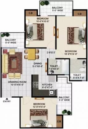 1300 sqft, 3 bhk Apartment in Panchsheel Pinnacle Sector 16B Noida Extension, Greater Noida at Rs. 42.0000 Lacs