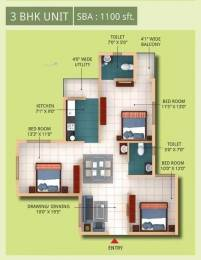 1100 sqft, 3 bhk Apartment in Trishakti Chandaka Meadows Chandaka, Bhubaneswar at Rs. 7000
