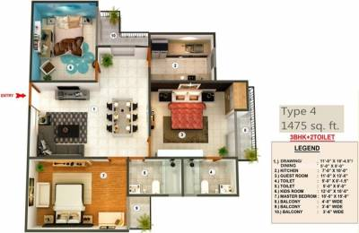1475 sqft, 3 bhk Apartment in Proview Officer City Raj Nagar Extension, Ghaziabad at Rs. 41.9900 Lacs
