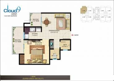 600 sqft, 1 bhk Apartment in Aadi Best Consortium Rishabh Cloud 9 Towers Sector 1 Vaishali, Ghaziabad at Rs. 34.0000 Lacs