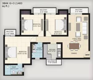1483 sqft, 3 bhk Apartment in BPTP Park Floors II Sector 76, Faridabad at Rs. 44.9000 Lacs