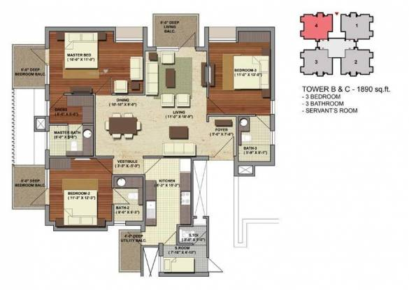 1996 sqft, 3 bhk Apartment in Conscient Heritage One Sector 62, Gurgaon at Rs. 1.6000 Cr