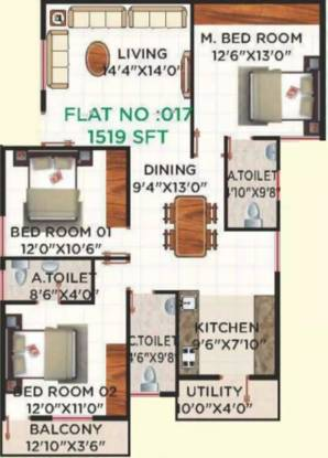 1519 sqft, 3 bhk Apartment in Honey Honey Dew Begur, Bangalore at Rs. 65.0000 Lacs