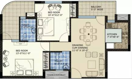 1290 sqft, 2 bhk Apartment in SBP North Valley Sector 127 Mohali, Mohali at Rs. 11000