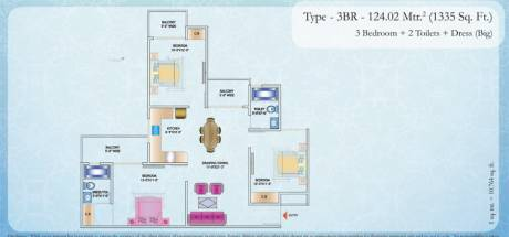 1335 sqft, 3 bhk Apartment in Builder Nirala Estate Greater Noida West, Greater Noida at Rs. 44.0550 Lacs