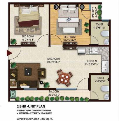 887 sqft, 2 bhk BuilderFloor in Radhika Homes Sector 4 Noida Extension, Greater Noida at Rs. 25.2500 Lacs