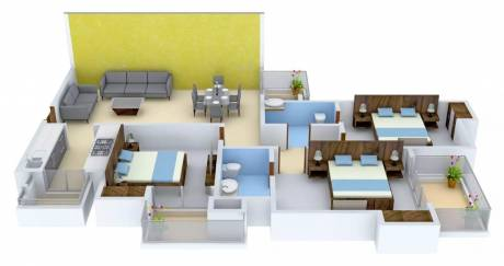 1525 sqft, 3 bhk Apartment in MGH Mulberry County Sector 70, Faridabad at Rs. 51.0000 Lacs
