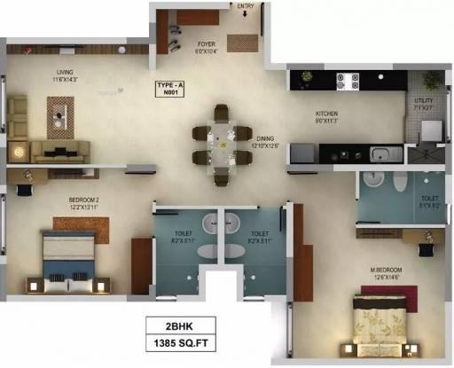1385 sqft, 2 bhk Apartment in Mantri WebCity Kuvempu Layout on Hennur Main Road, Bangalore at Rs. 85.3750 Lacs