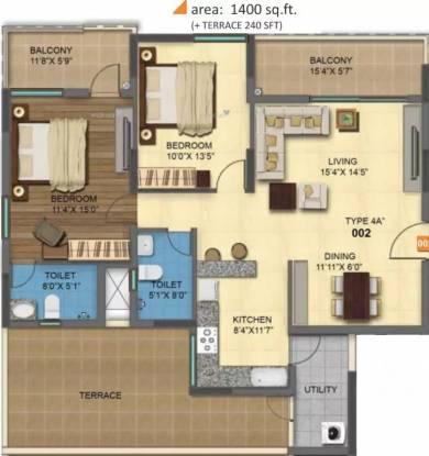1400 sqft, 2 bhk Apartment in MRKR Mera Homes Kannamangala, Bangalore at Rs. 77.0000 Lacs