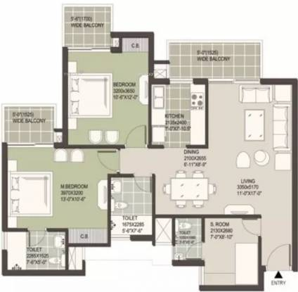 1419 sqft, 2 bhk Apartment in Satya The Hermitage Sector 103, Gurgaon at Rs. 60.0000 Lacs