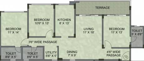 1645 sqft, 3 bhk Apartment in Kalpataru Serenity Manjari, Pune at Rs. 78.0000 Lacs