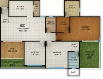 1600 sqft, 3 bhk Apartment in Kolte Patil Centria Undri, Pune at Rs. 91.9000 Lacs