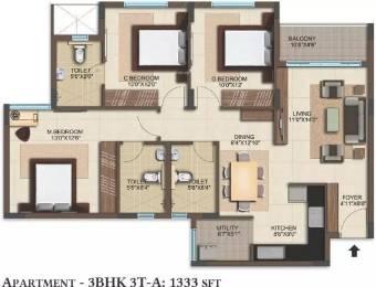 1333 sqft, 3 bhk Apartment in Bren Woods Avalahalli Off Sarjapur Road, Bangalore at Rs. 60.0000 Lacs