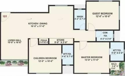 1825 sqft, 3 bhk Apartment in Raghuvir Shrungar Residency Vesu, Surat at Rs. 18000
