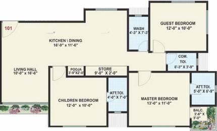 1825 sqft, 3 bhk Apartment in Raghuvir Shrungar Residency Vesu, Surat at Rs. 65.0000 Lacs