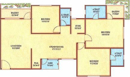2100 sqft, 3 bhk Apartment in Happy Home Nandanvan Apartment Vesu, Surat at Rs. 75.0000 Lacs