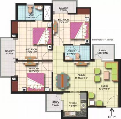 1420 sqft, 3 bhk Apartment in Amrapali Silicon City Sector 76, Noida at Rs. 16000