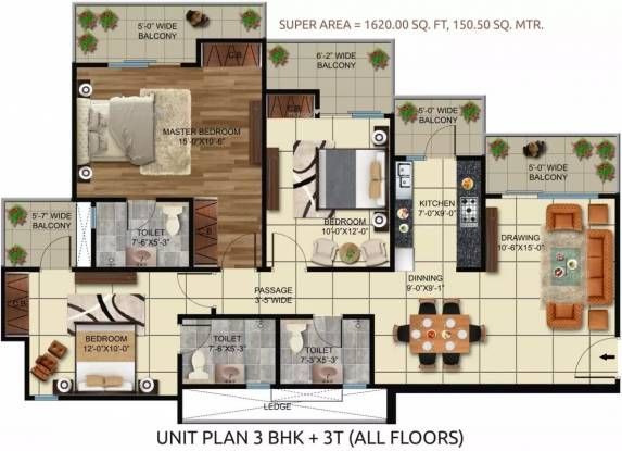 1620 sqft, 3 bhk Apartment in HR Buildcon Elite Golf Green Sector 79, Noida at Rs. 72.0900 Lacs