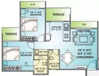 1075 sqft, 2 bhk Apartment in Arihant Abhilasha Kharghar, Mumbai at Rs. 18000